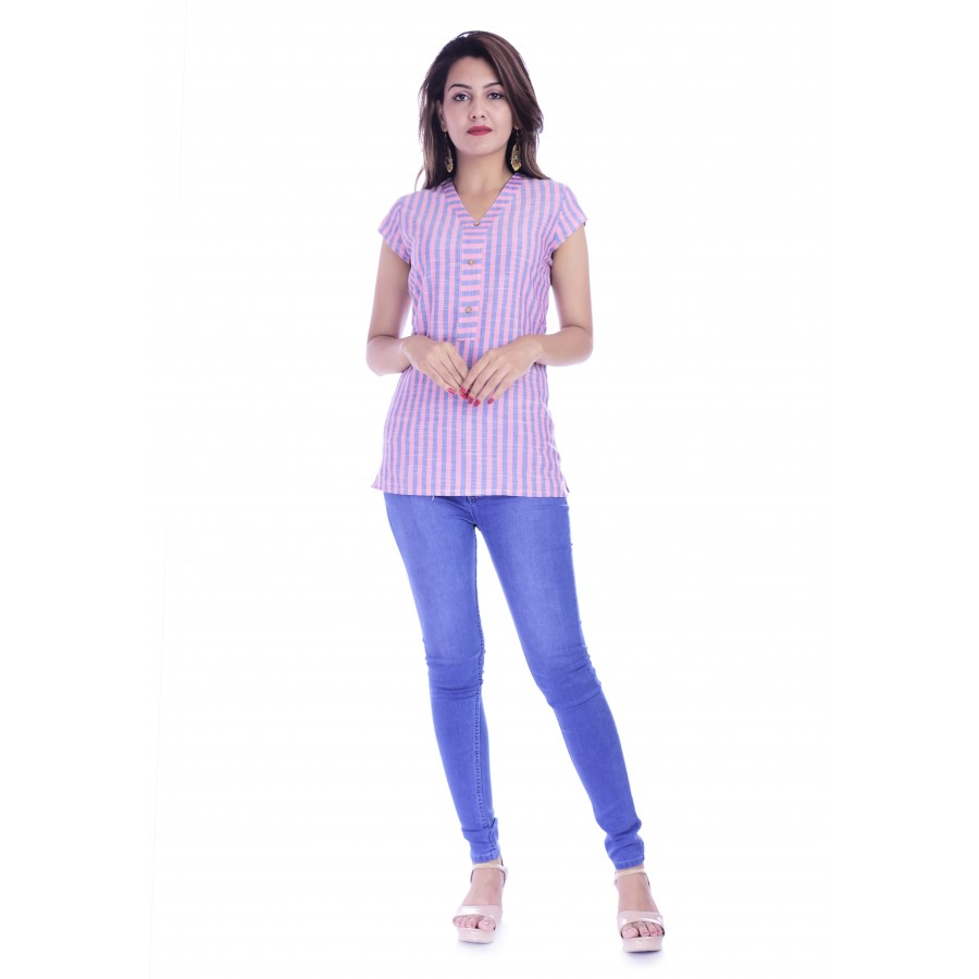 ASMANII WOMEN PINK BLUE STRIPED V NECK COTTON TOP JAIPUR