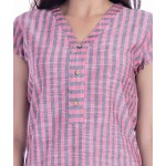 ASMANII WOMEN RED GREY STRIPED V NECK COTTON TOP JAIPUR