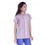 ASMANII WOMEN MULTICOLOR LINING V NECK BUTTON COTTON TOP JAIPUR