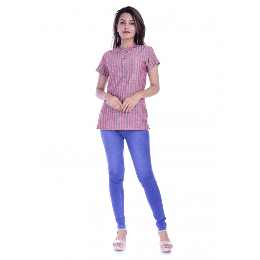 ASMANII WOMEN RED GREY STRIPED V NECK BUTTON COTTON TOP JAIPUR