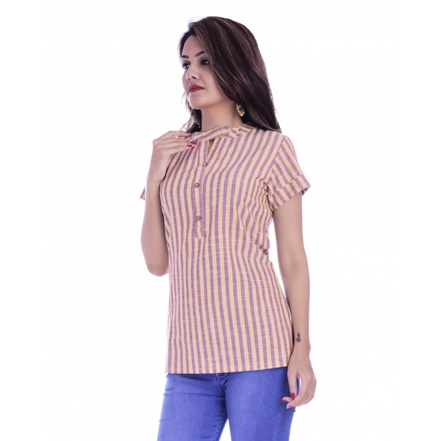 ASMANII WOMEN PINK YELLOW STRIPED V NECK BUTTON COTTON TOP JAIPUR