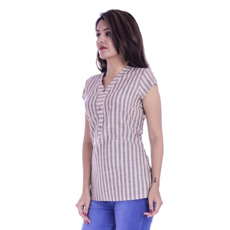 ASMANII WOMEN CREAM GREY STRIPED V NECK COTTON TOP JAIPUR