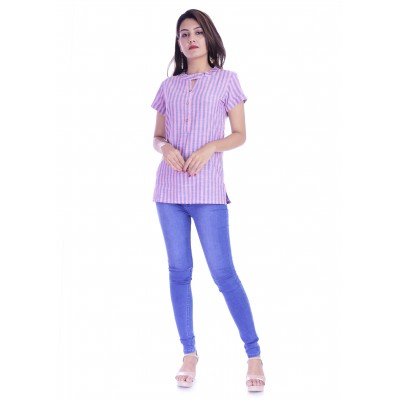 ASMANII WOMEN PINK PURPLE STRIPED V NECK BUTTON COTTON TOP JAIPUR