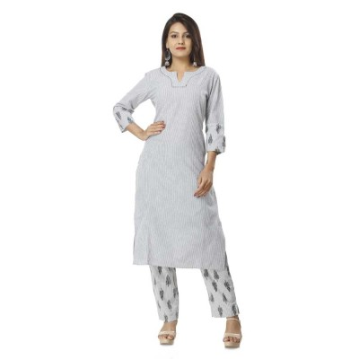 ASMANII GREY COTTON KURTA PRINTED PANT SET JAIPUR