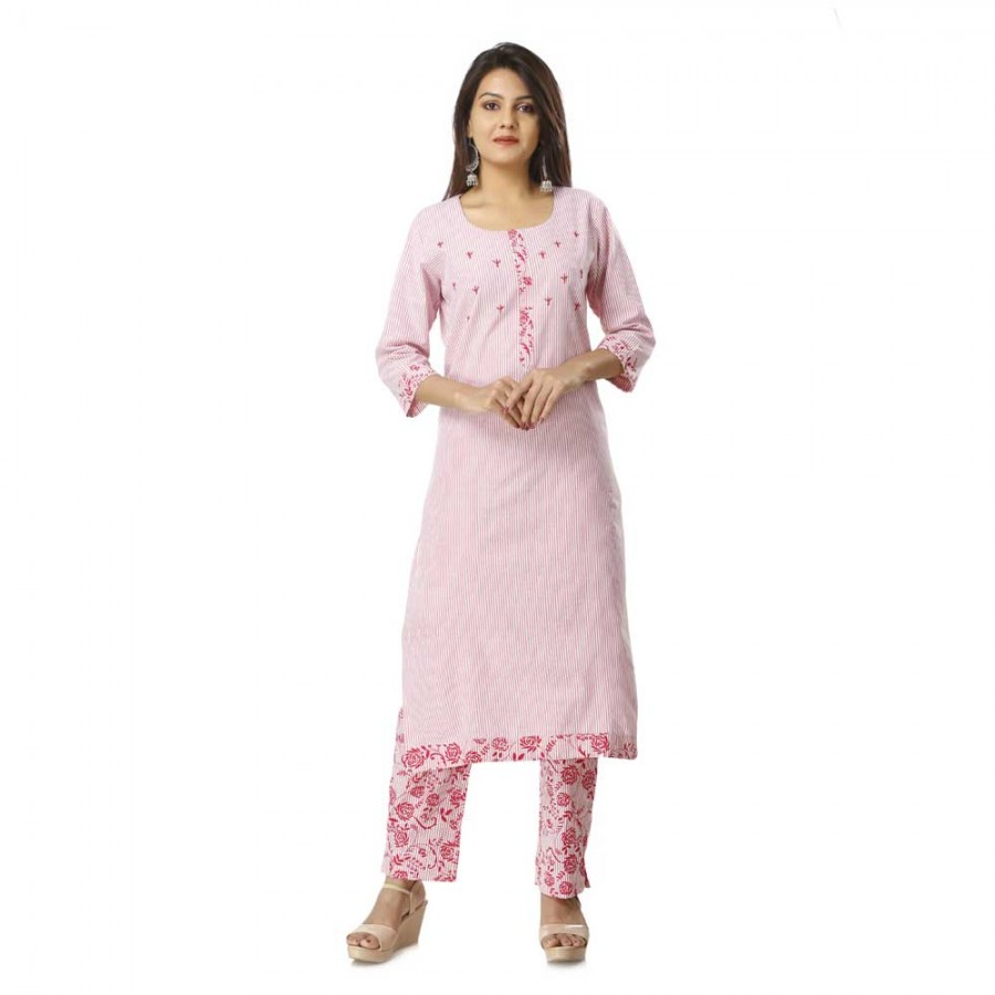 ASMANII LIGHT PINK PRINTED COTTON KURTA PANT SET JAIPUR