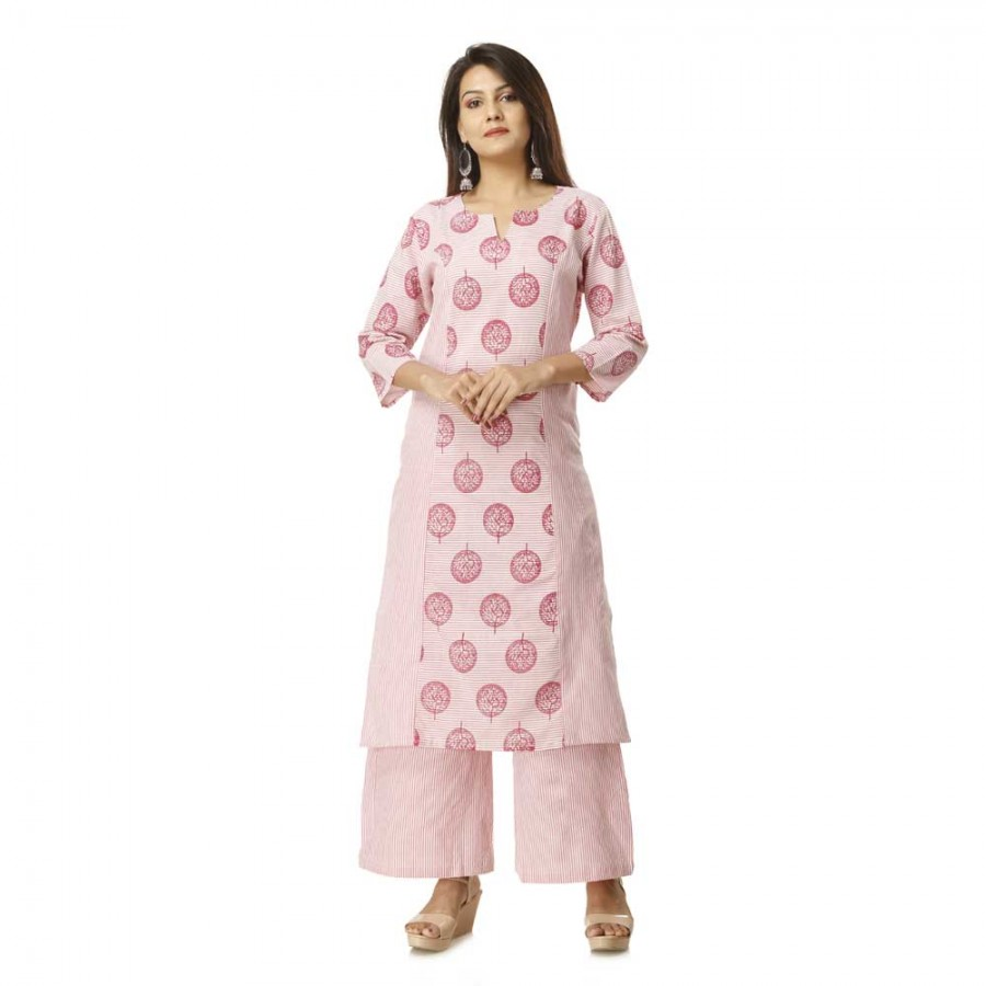 ASMANII LIGHT PINK FLORAL PRINTED COTTON KURTA PANT SET JAIPUR