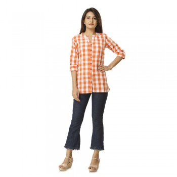 ORANGE CHECK CASUAL  SHIRTS  JAIPUR