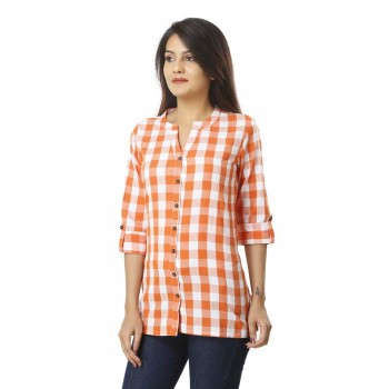 ORANGE CHECK CASUAL  SHIRTS
