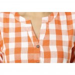 ASMANII WOMEN ORANGE CHECK CASUAL  SHIRTS JAIPUR