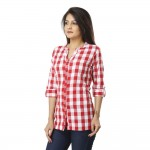 ASMANII WOMEN PINK CHECK CASUAL SHIRT JAIPUR