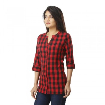 ASMANII FOR WOMEN RED CHECK CASUAL SHIRT JAIPUR