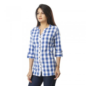 ASMANII LIGHT BLUE CHECK SHIRT FOR WOMEN JAIPUR