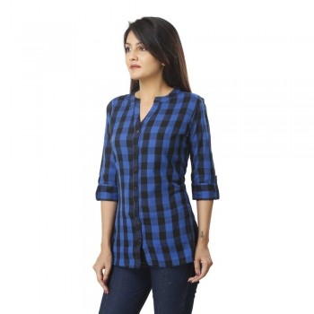 ASMANII BLUE CHECK SHIRT JAIPUR