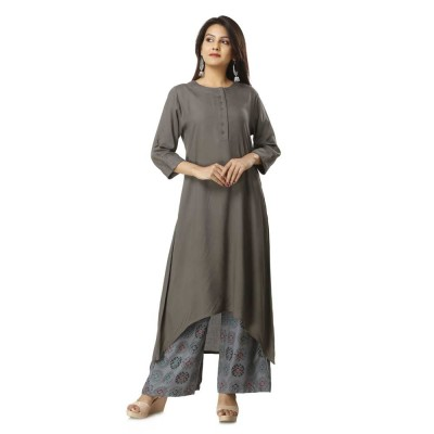 ASMANII GREY ELEGANT VISCOSE KURTI  PLAZZO SET JAIPUR
