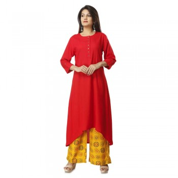 ASMANII RED ELEGANT VISCOSE KURTI  PLAZZO SET JAIPUR