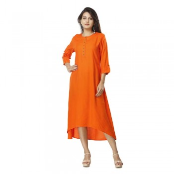 ASMANII ORANGE ELEGANT VISCOSE A LINE KURTI JAIPUR
