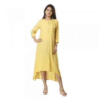 ASMANII LIGHT YELLOW ELEGANT VISCOSE A LINE KURTI JAIPUR