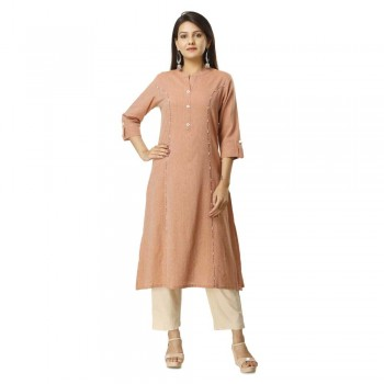 ASMANII BROWN COTTON KURTA PANT SET JAIPUR