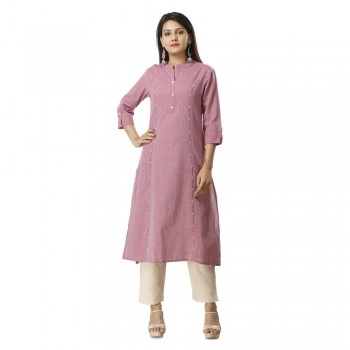 ASMANII PINK COTTON KURTA PANT SET JAIPUR