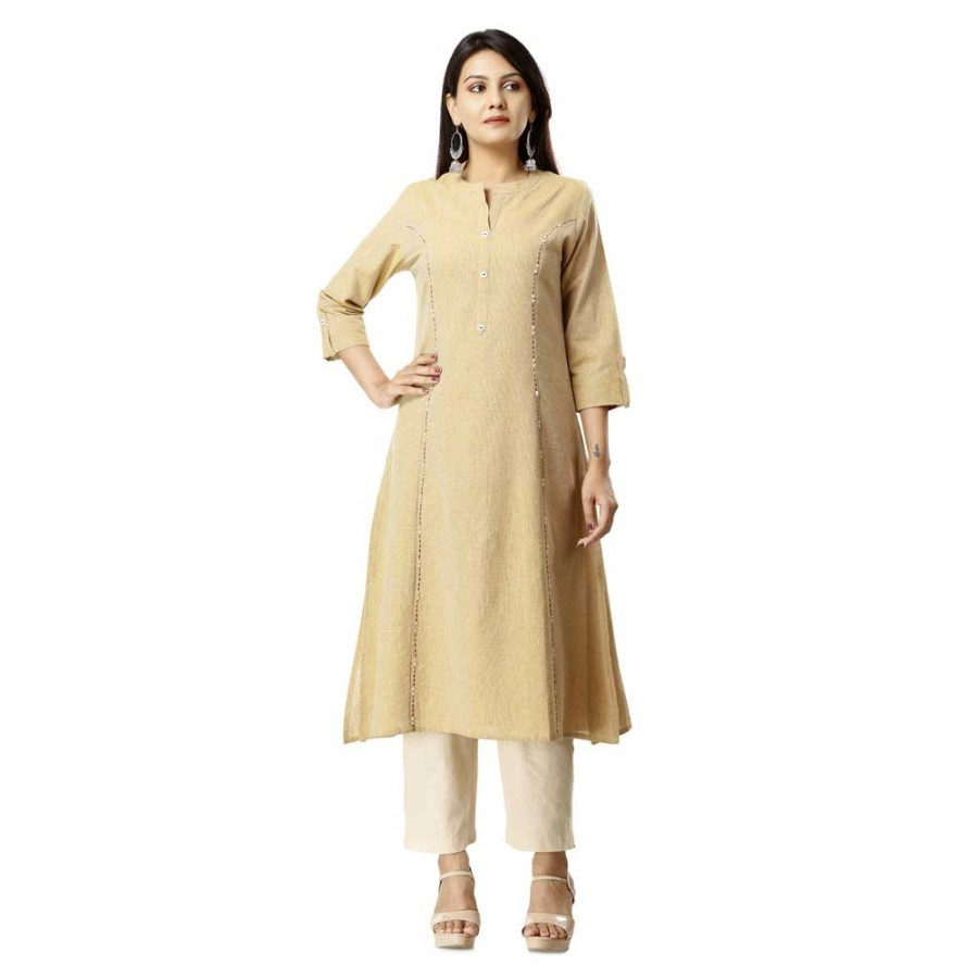 ASMANII LIGHT BROWN COTTON KURTA PANT SET JAIPUR