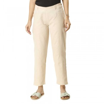 ASMANII WHITE COTTON STRAIGHT PANTS  JAIPUR