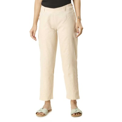 ASMANII WOMEN WHITE COTTON STRAIGHT PANT JAIPUR