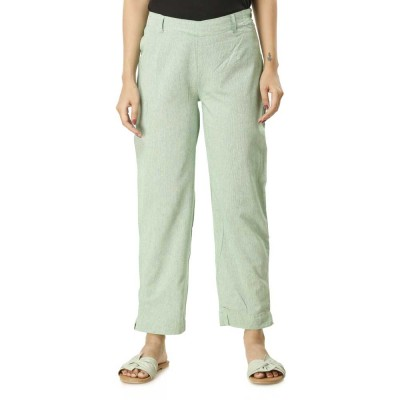ASMANII GREEN COTTON STRAIGHT PANTS JAIPUR