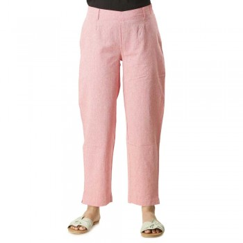 ASMANII PINK COTTON STRAIGHT PANTS JAIPUR