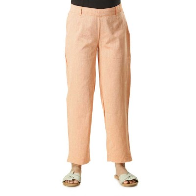 ASMANII WOMEN ORANGE COTTON STRAIGHT PANT JAIPUR