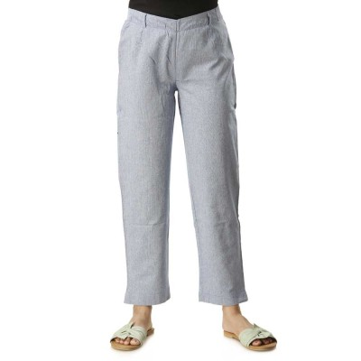 ASMANII LIGHT BLUE COTTON STRAIGHT PANTS FOR WOMEN JAIPUR
