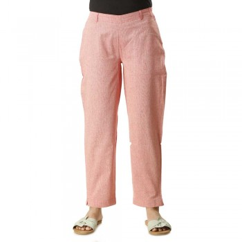 ASMANII DARK PINK COTTON STRAIGHT PANTS  FOR WOMEN JAIPUR