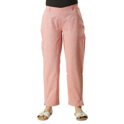 ASMANII DARK PINK COTTON STRAIGHT PANTS JAIPUR